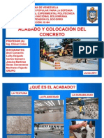 ACABADO Y COLOCACIÓN DEL CONCRETO  Exposicion