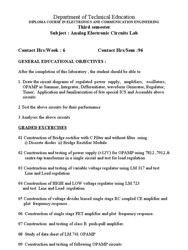 Analog Electronics Circuits Lab Operational Amplifier Electronic 12v Voltage Regulator Circuit Diagram Variable Power Supply Oscillator