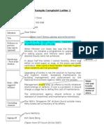 Sample Complaint Letter 1