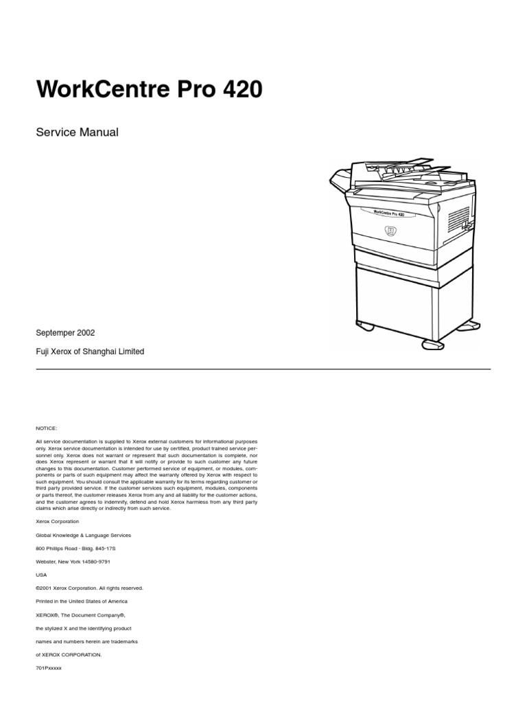 xerox work centre pro 420 service manual documentation rh scribd com Xerox WorkCentre 4150 Driver Xerox WorkCentre 3550