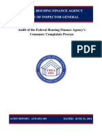 FHFA Audit of the Federal Housing Finance Agency's Consumer Complaint Process