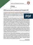 Comunicado de Prensa 22 junio APPU ante confirmación Presidente UPR