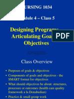 NUR 1034 Class 5 Overheads - goals & objectives- 2009