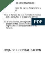 Hoja de Hospitalizacion y Egreso