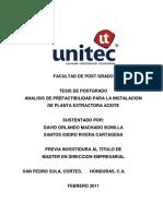 Tesis Analisis de Prefactibilidad Para Instalacion de Planta Extractor A de Aceite 2011