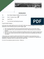 City Clerk's office theft memo