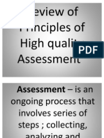 Review of Principles of High Quality Assessment