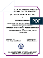 Analysis of Marketing Strategy of Mineral Water Industry