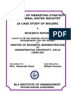 strategic analysis of bisleri Market analysis of the marketing strategy of bisleri – the beverages market is segregated between aerated drinks and mineral water growing middle class and people becoming hygiene in the daily intakes, rising pollution, changing eating habits are some of the factors affecting the companies operating in the industry.