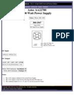 SUN Netra240 Power Supply SpecSheetdeAstec