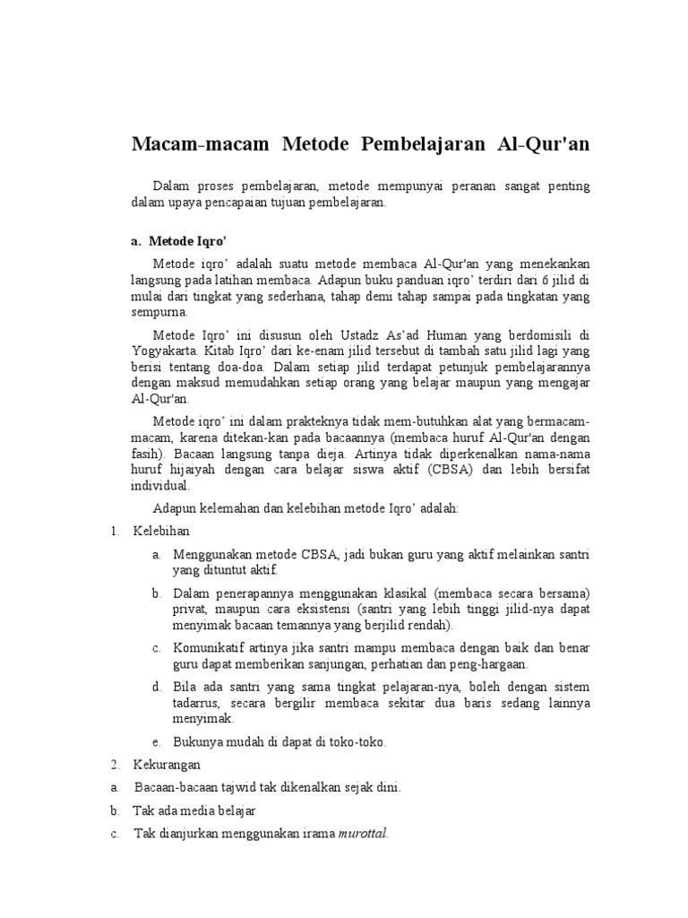Macam Macam Metode Pembelajaran Al Quran