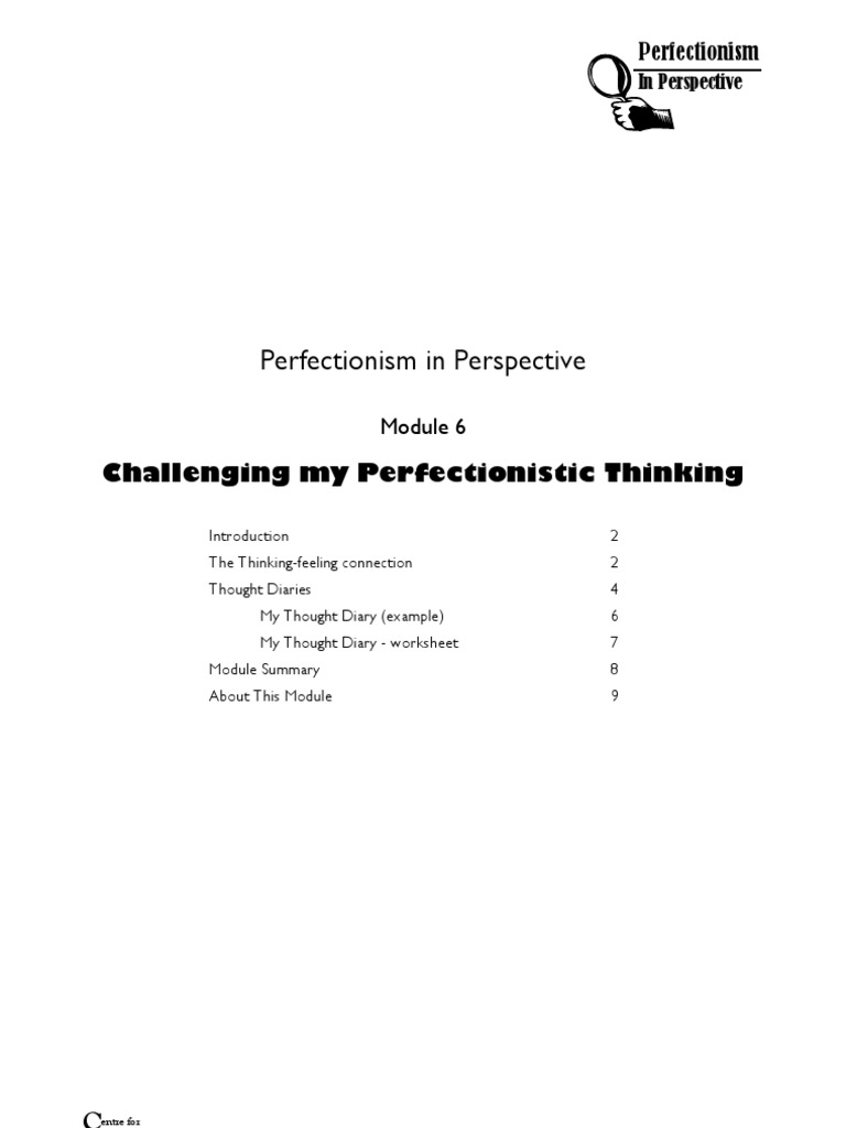 6 Challenging My Perfection Is Tic Thinking Perfectionism
