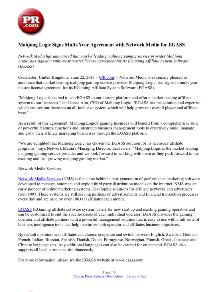 Mahjong Logic Signs Multi Year Agreement With Network Media For