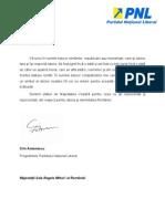 Scrisoarea Presedintelui PNL Catre MS Regele Mihai I