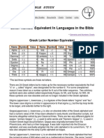 Greek and Hebrew Letter Number Equivalent