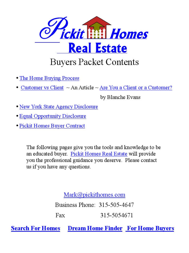 Buyers Packet Real Estate Broker Law Of Agency