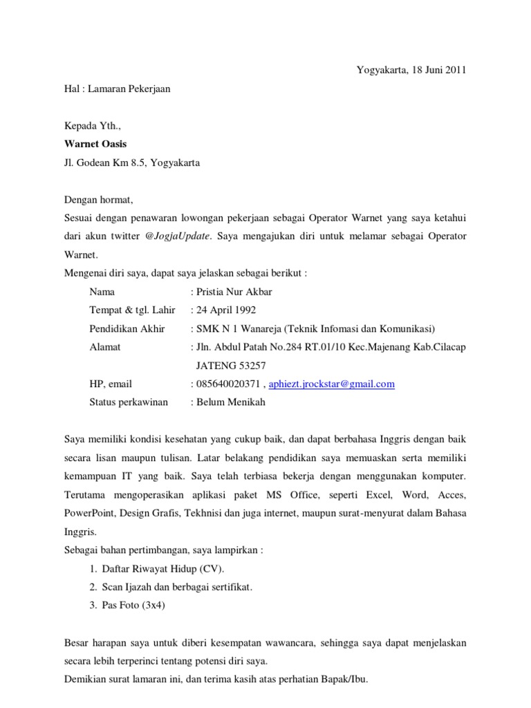24++ Contoh surat lamaran pekerjaan pdf terbaru terbaik