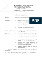 Short Term Clinical Assistant Ship for Bds Graduates (Guide Line)
