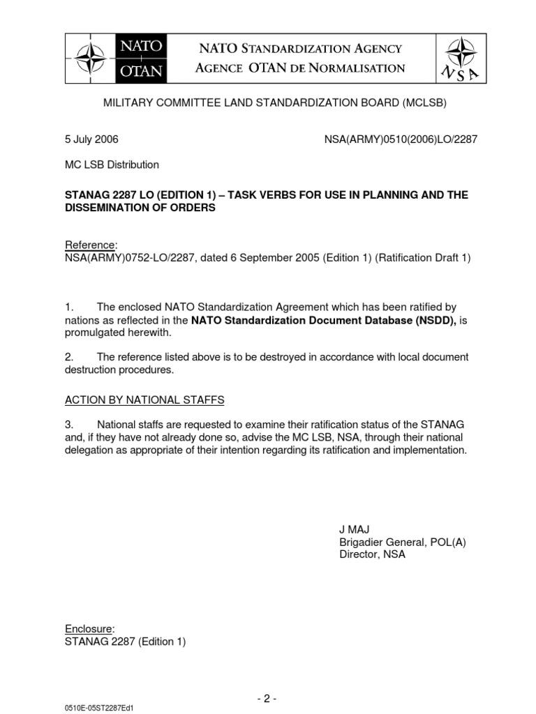 Nato Stanag 2287 Ratification Reconnaissance