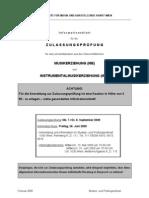 Info -Zulassungsprüfung