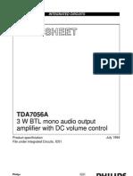 3 Watts Btl Audio Out Tda7056a