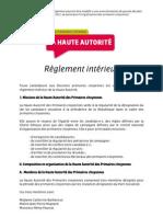 Règlement intérieur de la Haute Autorité des primaires