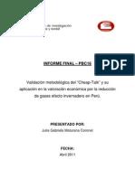Validacion a Del Cheap Talk y Su Aplicacion en la Valoracion Económica por la reducción de gases efecto invernadero en Perú