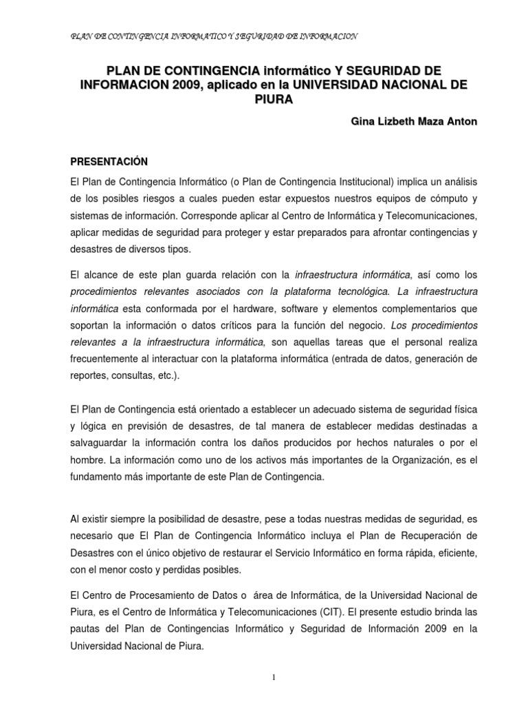 PLAN DE CONTINGENCIA INFORMATICO