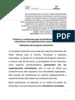 Infocentro Criterios Transfer en CIA Infocentros13!03!10