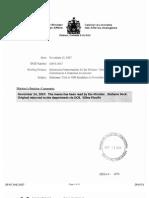 Mémorandum envoyé au ministère des Affaires étrangères du Canada (15 novembre 2007)