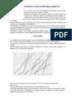 FUNCION LINEAL Y ECUACIÓN DE LA RECTA