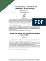 Cambio inclusion y  calidad en las comunidades de aprendizaje. Ramón Flecha