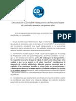 Declaración CDU sobre la respuesta de Rectoría sobre el contrato alumnos de primer año