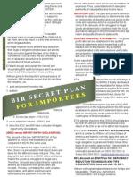 Bir Secret Plan for Importers