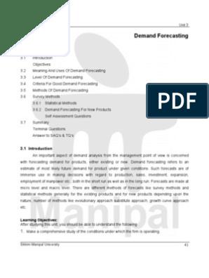 3 Demand Forecasting | Forecasting | Survey Methodology