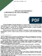 Dragisicev Spis Za Savonarolu