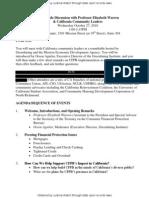 Agenda for interim CFPB head Elizabeth Warren of closed-door meeting in California