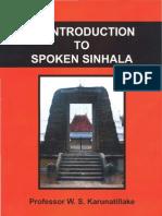 An Introduction to Spoken Sinhala - Professor W.S. Karunatillake