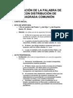 CELEBRACIÓN DE LA PALABRA DE DIOSCON DISTRIBUCIÓN DE
