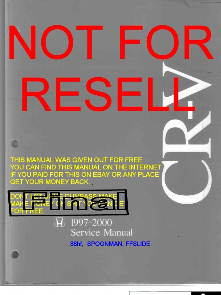Honda CRV 97-00 Service Manual | Airbag | Transmission (Mechanics)