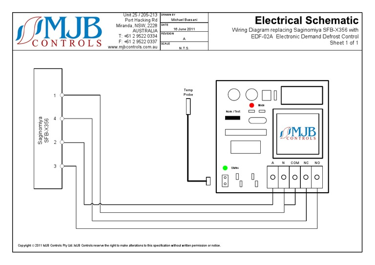 wiring diagram replacing saginomiya sfb-x356 with edf-02a electronic demand defrost  control sheet 1 of 1