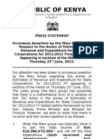 Press Statement on the Erroneous Assertion by the Mars Group