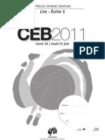 Epreuves CEB 2011 - Lire et écrire