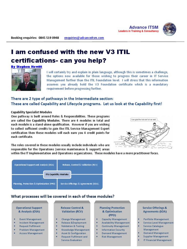 Advance Itsm Help Explain The New Certifications Itil