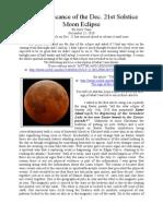 The Significance of the Dec 22 Luna Eclipse