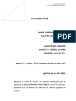 Proceso 30106(30!09!09) - Derogacion Requisitos Art 1 Ley 750 2002