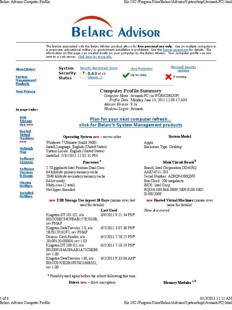 Belarc Advisor Computer Profile   Microsoft Office   Microsoft