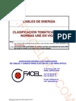 Cables de energía. Clasificación temática de las normas UNE en vigor