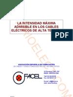 La intensidad máxima admisible en los cables eléctricos de alta tensión