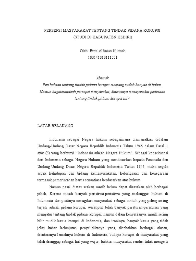 Proposal Skripsi Penegakan Hukum Tp Korupsi Dana Bansos